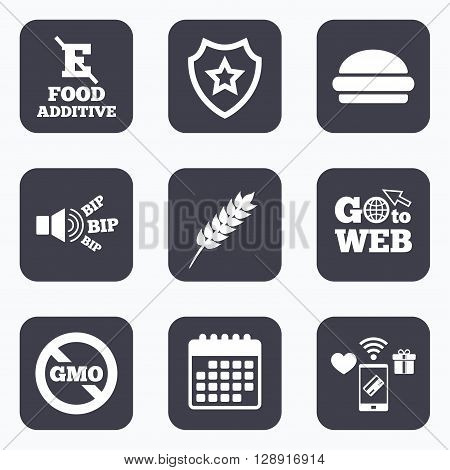 Mobile payments, wifi and calendar icons. Food additive icon. Hamburger fast food sign. Gluten free and No GMO symbols. Without E acid stabilizers. Go to web symbol.