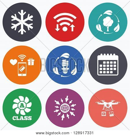 Wifi, mobile payments and drones icons. Fresh air icon. Forest tree with leaves sign. Fluorescent energy lamp bulb symbol. A-class ventilation. Air conditioning symbol. Calendar symbol.