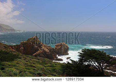 Scenery along Hwy 1 in California's Big Sur region