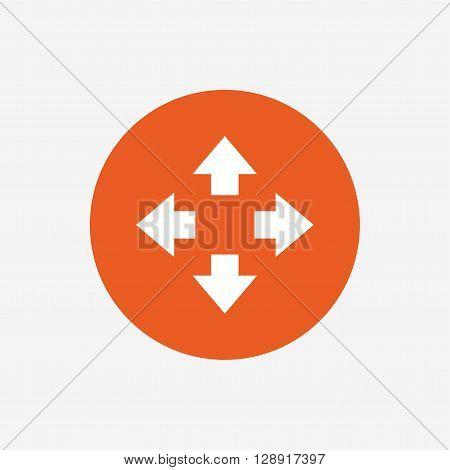 Fullscreen sign icon. Arrows symbol. Icon for App. Orange circle button with icon. Vector