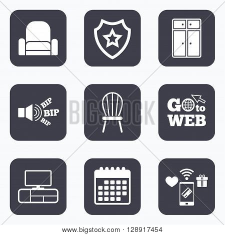 Mobile payments, wifi and calendar icons. Furniture icons. Cupboard, chair and TV table signs. Modern armchair symbol. Go to web symbol.
