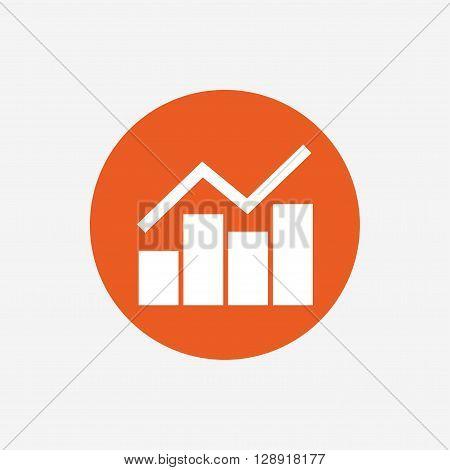 Graph chart sign icon. Diagram symbol. Statistics. Orange circle button with icon. Vector
