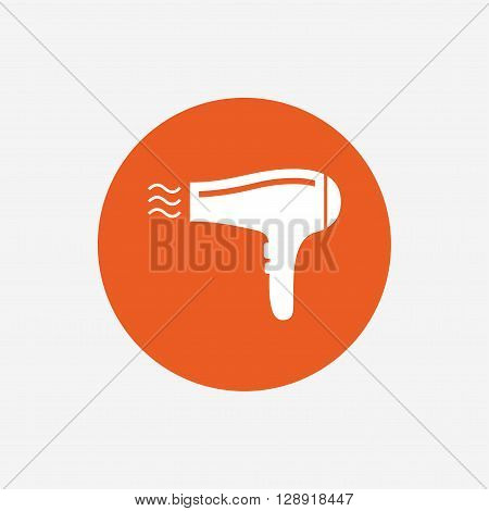 Hairdryer sign icon. Hair drying symbol. Blowing hot air. Turn on. Orange circle button with icon. Vector