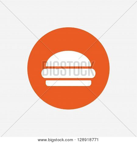 Hamburger sign icon. Fast food symbol. Junk food. Orange circle button with icon. Vector
