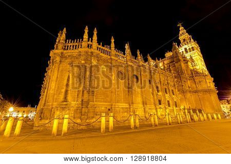 The spectacular and illuminated Cathedral of Seville and Giralda by night, the world's largest Gothic Cathedral and the third religious building to size, Andalucia, Spain.