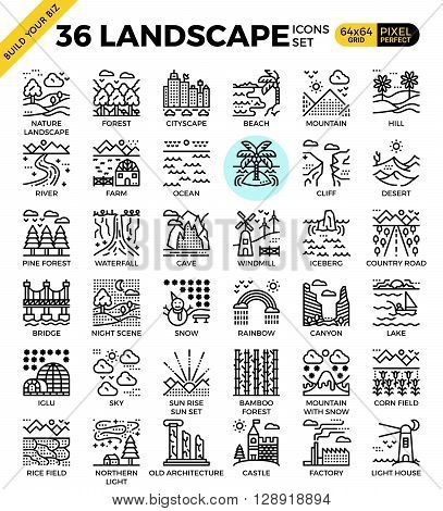 Nature landscape pixel perfect outline icons modern style for website or print illustration