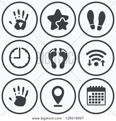 Clock, wifi and stars icons. Hand and foot print icons. Imprint shoes and barefoot symbols. Stop do not enter sign. Calendar symbol.