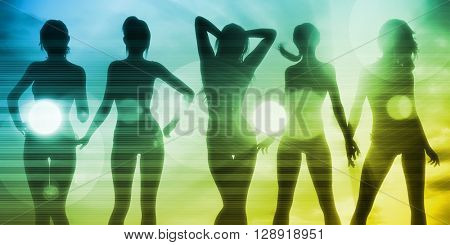 Vacation Fun with Ladies Basking in the Sun 3D Illustration Render
