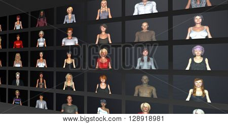 Dating Website or Application with Different User Profiles 3D Illustration Render
