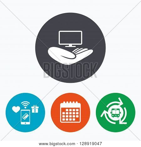 TV insurance sign icon. Hand holds wide-screen TV symbol. Mobile payments, calendar and wifi icons. Bus shuttle.