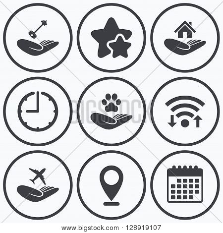 Clock, wifi and stars icons. Helping hands icons. Shelter for dogs symbol. Home house or real estate and key signs. Flight trip insurance. Calendar symbol.