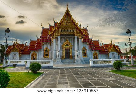 The Marble Temple of Wat Ben, one of the famous landmarks of Bangkok