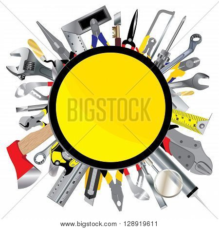 Tool design. Object tool. Construction sign with tool isolated on white background.