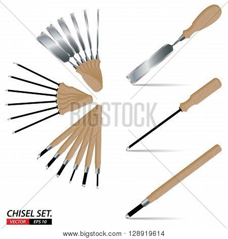 Chisel set isolated on white background. Tool set isolated on white background.