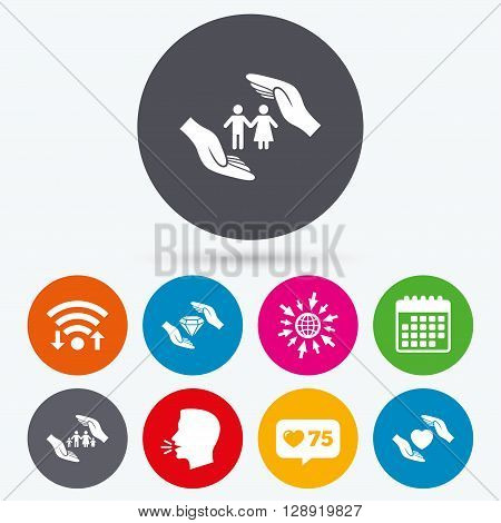 Wifi, like counter and calendar icons. Hands insurance icons. Couple and family life insurance symbols. Heart health sign. Diamond jewelry symbol. Human talk, go to web.