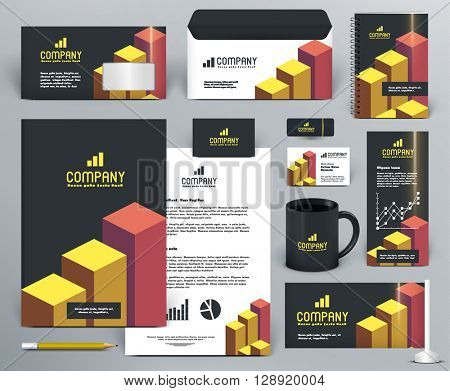 Professional  branding design kit  with graphs for investment, financial corp. Gold, yellow, orange, red, black colors. Premium corporate identity template. Business stationery mock-up with logo.