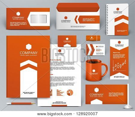 Professional orange universal branding design kit with arrow for real estate/investment. Corporate identity template. Business stationery mock-up. Editable vector illustration: folder, cup, etc.
