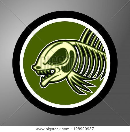 Dead fish Circle sticker .eps10 editable vector illustration design