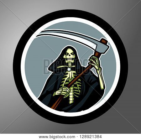 Grim Reaper Circle sticker .eps10 editable vector illustration design