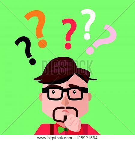 Businessman asking sign .eps10 editable vector illustration design