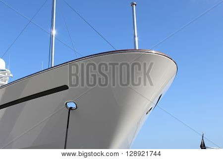 Close up of a white yacht hull