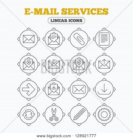 Linear icons with direction arrows. Mail services icons. Send mail, paper clip and download arrow symbols. Scissors, pencil and refresh thin outline signs. Receive, select and delete mail. Circle buttons.
