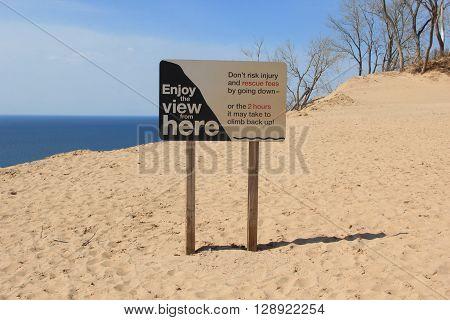 A  danger sign on the Pierce Stocking Scenic Drive, Sleeping Bear Dunes National Lakeshore, Michigan