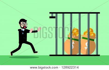 Business man money jail .eps10 editable vector illustration design