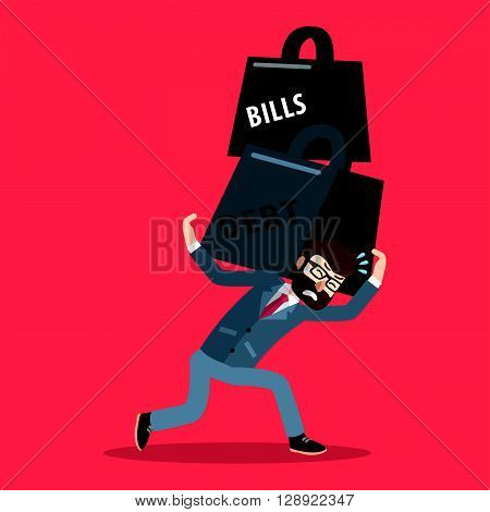 Business man debt and bills weight .eps10 editable vector illustration design
