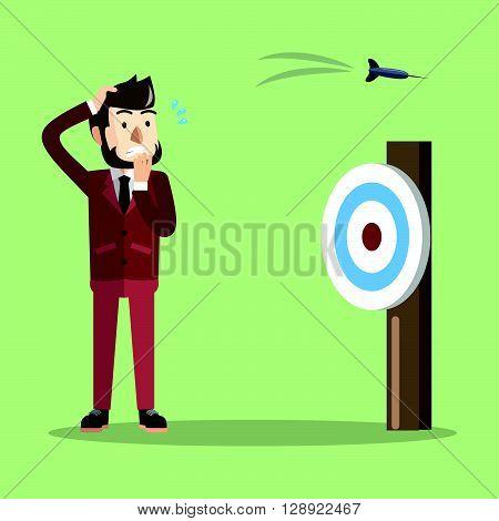 Business man missed target shoot  .eps10 editable vector illustration design