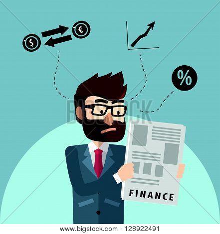 Man read financial report .eps10 editable vector illustration design