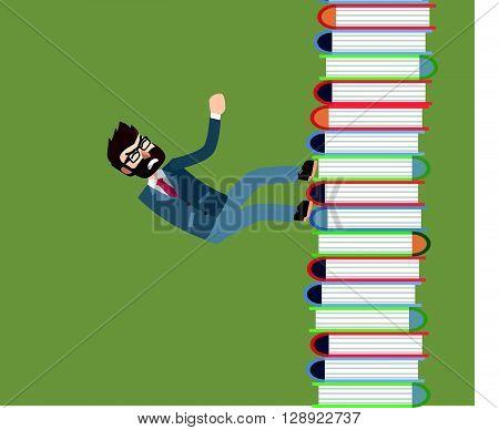 Businessman climb book .eps10 editable vector illustration design