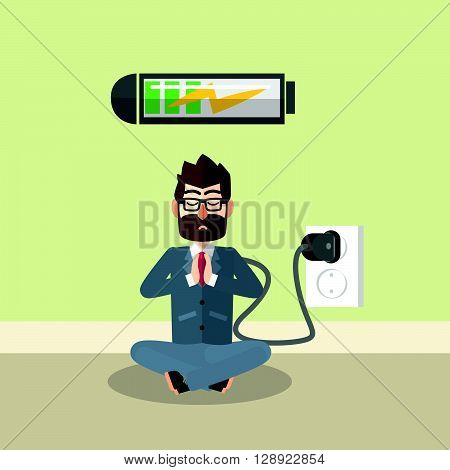 Business man charging his mind .eps10 editable vector illustration design