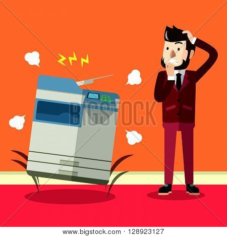 Bad photocopier machine  .eps10 editable vector illustration design