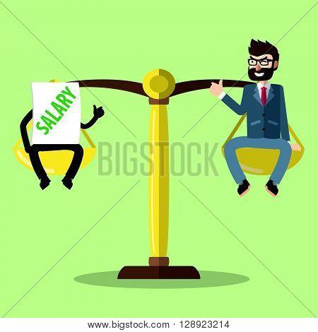 Salary scale for business man .eps10 editable vector illustration design
