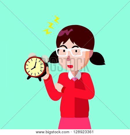 Girl clock tick tock .eps10 editable vector illustration design