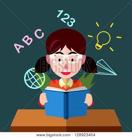 Girl learn math .eps10 editable vector illustration design