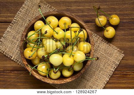 Ripe yellow or Rainier cherry in wooden bowl photographed overhead on wood with natural light (Selective Focus Focus on the top cherries in the bowl)