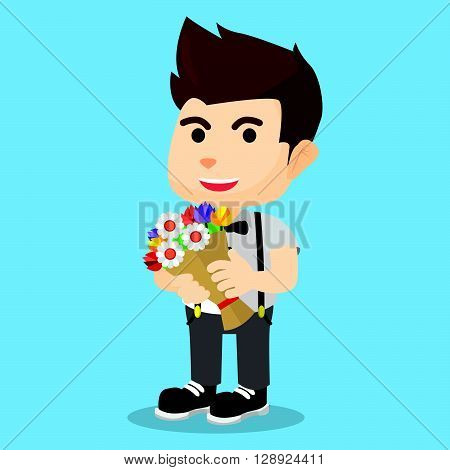 Boy bring boquet flower .eps10 editable vector illustration design