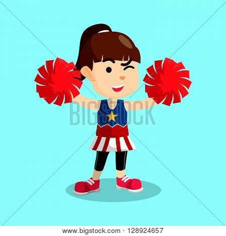 Cheerleader girl illustration .eps10 editable vector illustration design
