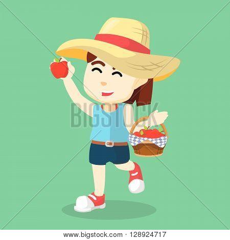Girl picking an apple .eps10 editable vector illustration design