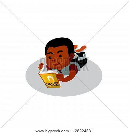 Boy reading history book .eps10 editable vector illustration design