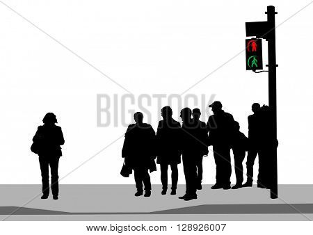 Traffic lights and road signs on a white background