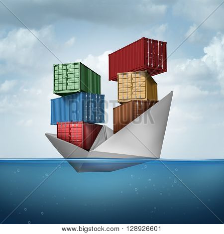 Ocean cargo ship as a container boat transporting heavy freight as a paper vessel carrying shipping containers as a trade and export concept with 3D illustration elements.