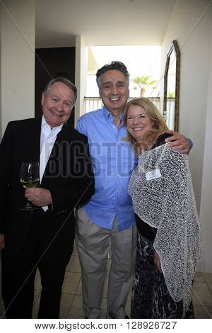 PALM SPRINGS - APR 27: John Holly, John Bowab, Meg Thomas at a cultivation event for The Actors Fund at a private residence on April 27, 2016 in Palm Springs, California