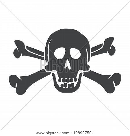 Crossbones logo. Crossbones and skull death flat icon. Scull and bones isolated icon,  silhouette. Pirate sign vector illustration. Skull icon. Skull Icon design