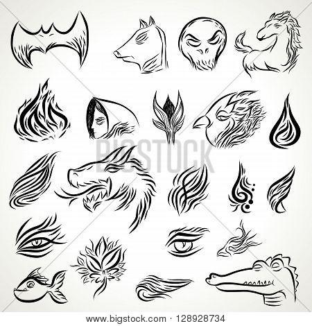 Line art tattoo , animal and line art