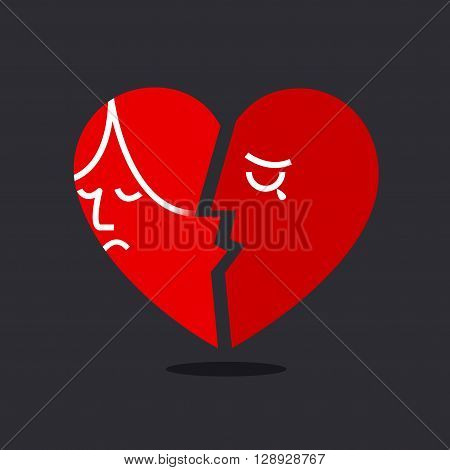 Broken heart , red duo heart , man and woman