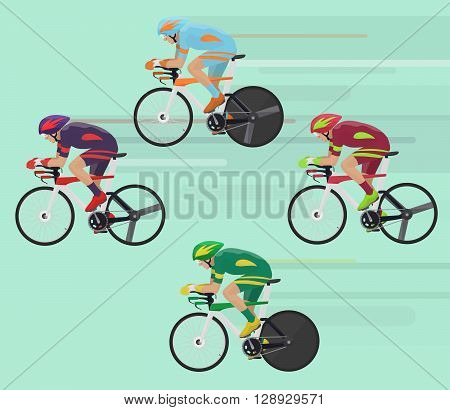 Cyclists man on road race bicycle racing concept