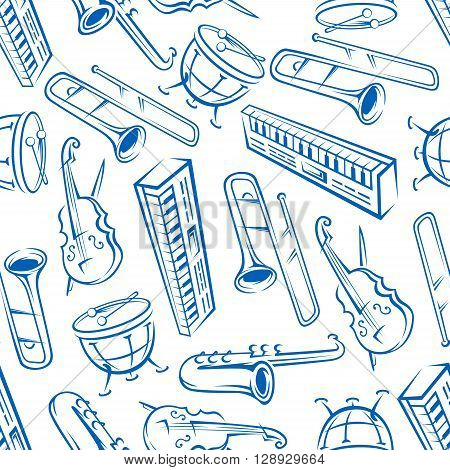 Jazz orchestra musical instruments background with seamless pattern of blue sketchy saxophones, trombones, timpani drums, cellos and synthesizers. May be use as music, arts theme or scrapbook page backdrop design